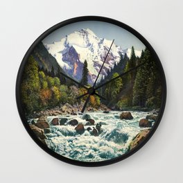 Mountains Forest Rocky River Wall Clock