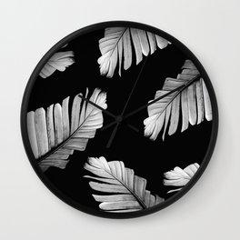 Tropical Gray White Banana Leaves Dream #2 #decor #art #society6 Wall Clock