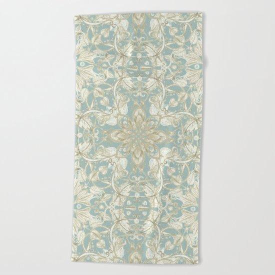 Soft Sage & Cream hand drawn floral pattern Beach Towel
