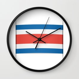 Flag of Costa Rica. The slit in the paper with shadows. Wall Clock