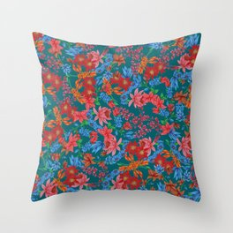 Dark blue moody Floral Throw Pillow
