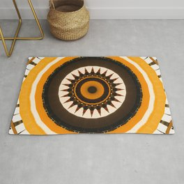Abstract Art Unique Yellow And Brown Kaleidoscope Pattern Rug