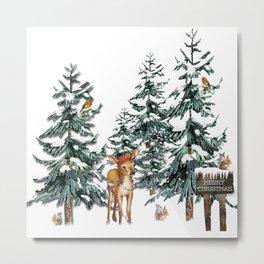 Christmas Winter Wonderland Fawn Metal Print