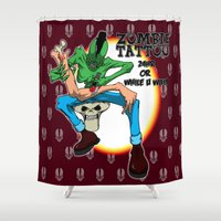 tattoos Shower Curtains featuring tattoos while u wait by Andrew Mark Hunter