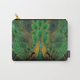 """Emerald and black peacock"" Carry-All Pouch"