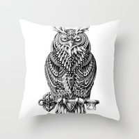 owl Throw Pillows featuring Great Horned Owl by BIOWORKZ