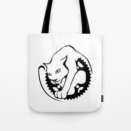 Elegant cat and the gear wheel Tote Bag