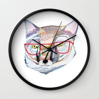 mr fox Wall Clocks featuring Mr Fox by Ashley Percival illustration