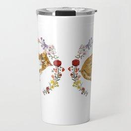 Bon the Cat in Floral Wreath Travel Mug