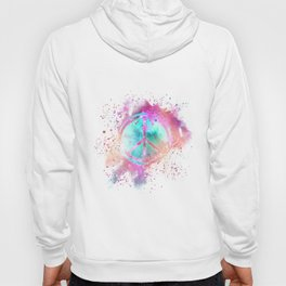 Colorful Painted Peace Symbol Hippie Style Hoody