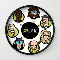 30 rock Wall Clocks featuring 30 Rock by Miguel Roselló