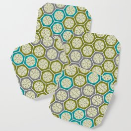Hexagonal Dreams - Green, Grey, Turquoise Coaster