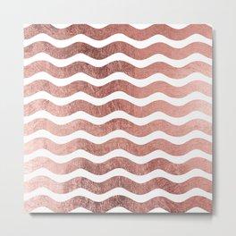 Chic stylish faux rose gold modern wave stripes Metal Print