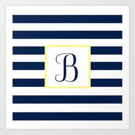 Monogram Letter B in Navy Blue it Yellow Outlined Box Art Print