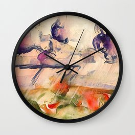 Stormy Landscape Purple Orange by CheyAnne Sexton Wall Clock