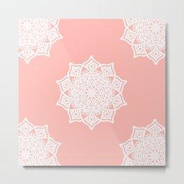 Pink Lotus Pastel Mandala Metal Print