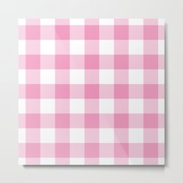 Light Pink Gingham Pattern Metal Print