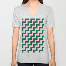 Cotton Candy Pink and Cadmium Green Steps RTL Unisex V-Neck