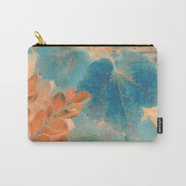 Blue and Orange Autumn Leaves Carry-All Pouch