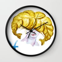 pisces Wall Clocks featuring Pisces by Aloke Design