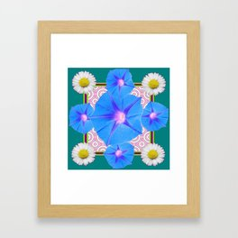 Blue Morning Glories & Shasta Daisies Teal Art Framed Art Print