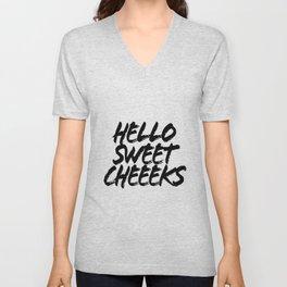 Hello Sweet Cheeks Grunge Caps Unisex V-Neck