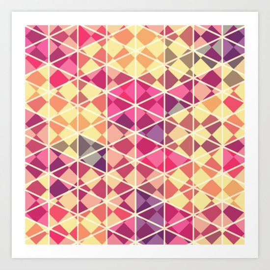 Love triangle pattern art Art Print