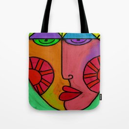 Colorful Abstract Digital Painting of a Face Tote Bag