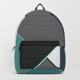 Grey-blue-black pattern . Abstraction . Patchwork . Backpack