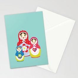 Turquoise babushka , matryoshka , russian doll , nursery decor , children gift, birthday gift Stationery Cards
