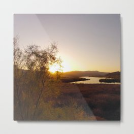 Sunset Solar Flare Event from the Lake. Metal Print