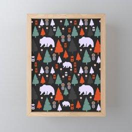 Bear forest at night Framed Mini Art Print