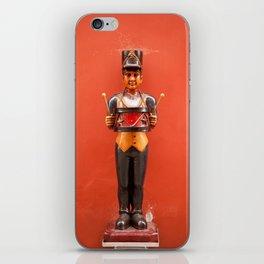 Carved drummer figure decoration iPhone Skin