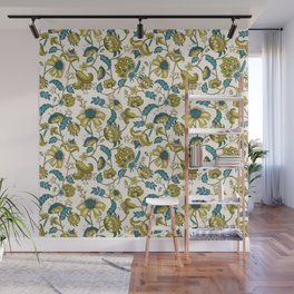 Green and Blue Indian Floral Wall Mural