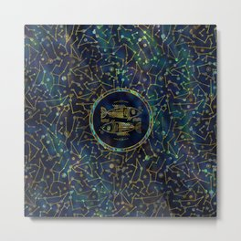 Pisces Zodiac Gold Abalone on Constellation Metal Print