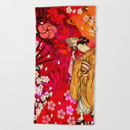 日没 (sunset) Beach Towel