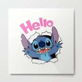 Hello from Stitch Metal Print