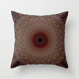 Brown mandala with red sun Throw Pillow