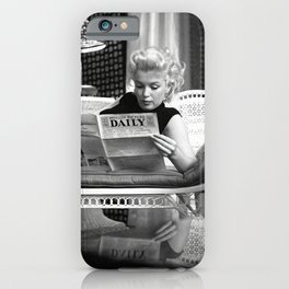 Mari-lyn Monroe Reading the New- Gift, Home Decor, photography, American icon, actress, Vintage poster, print, iPhone Case