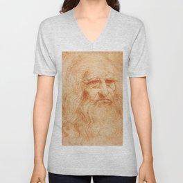 """Leonardo da Vinci """"Self-portrait in 1512"""" Unisex V-Neck"""