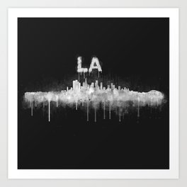 Los Angeles City Skyline HQ v5 WB Art Print
