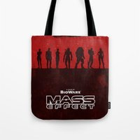 mass effect Tote Bags featuring Mass Effect 1 by Bill Pyle