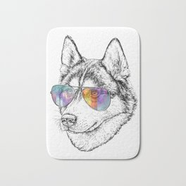 Husky Dog Graphic Art Print. Husky in glasses Bath Mat