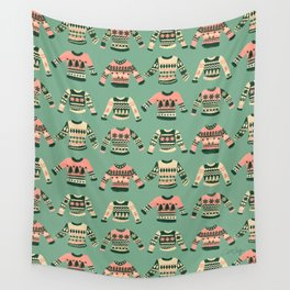 Christmas Sweaters – Vintage Blush Mint Palette Wall Tapestry