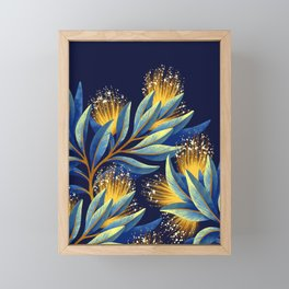Pohutukawa - Yellow / Blue Framed Mini Art Print