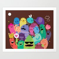 monsters Art Prints featuring Monsters by Maria Jose Da Luz