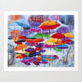 Diane L - Sous la pluie Art Print