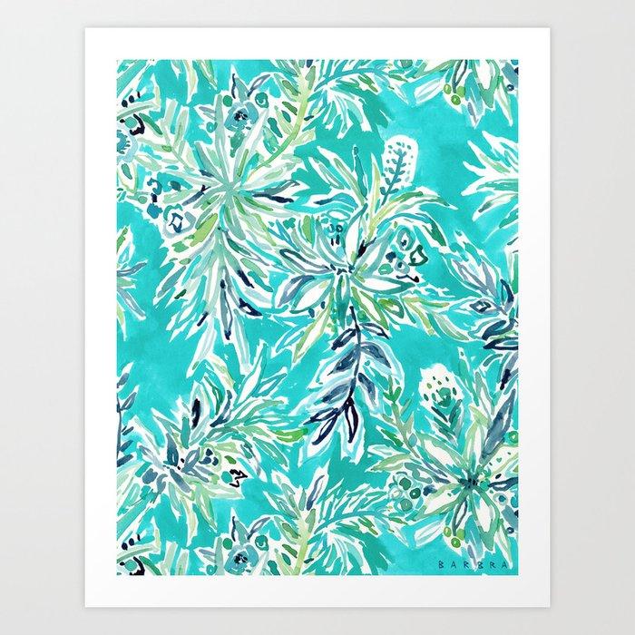 KAILUA CHILL Tropical Hawaiian Floral Art Print