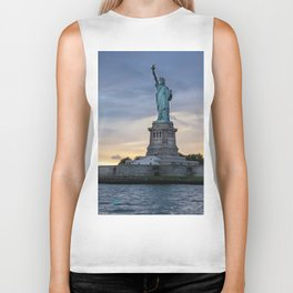 Statue of Liberty in New York at sunset Biker Tank