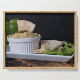 Hummus Pita Bread and Green Sweet Bell Peppers Serving Tray